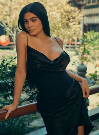 dress kylie jenner black dress kendall + kylie label camisole silk dress
