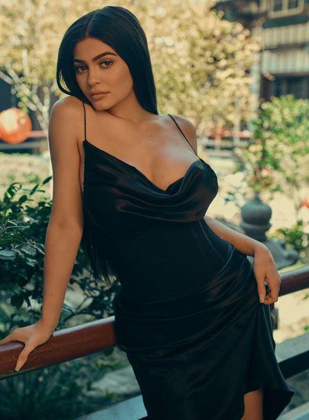 Kylie Jenner Wearing A Kendall Kylie Label Black Dress