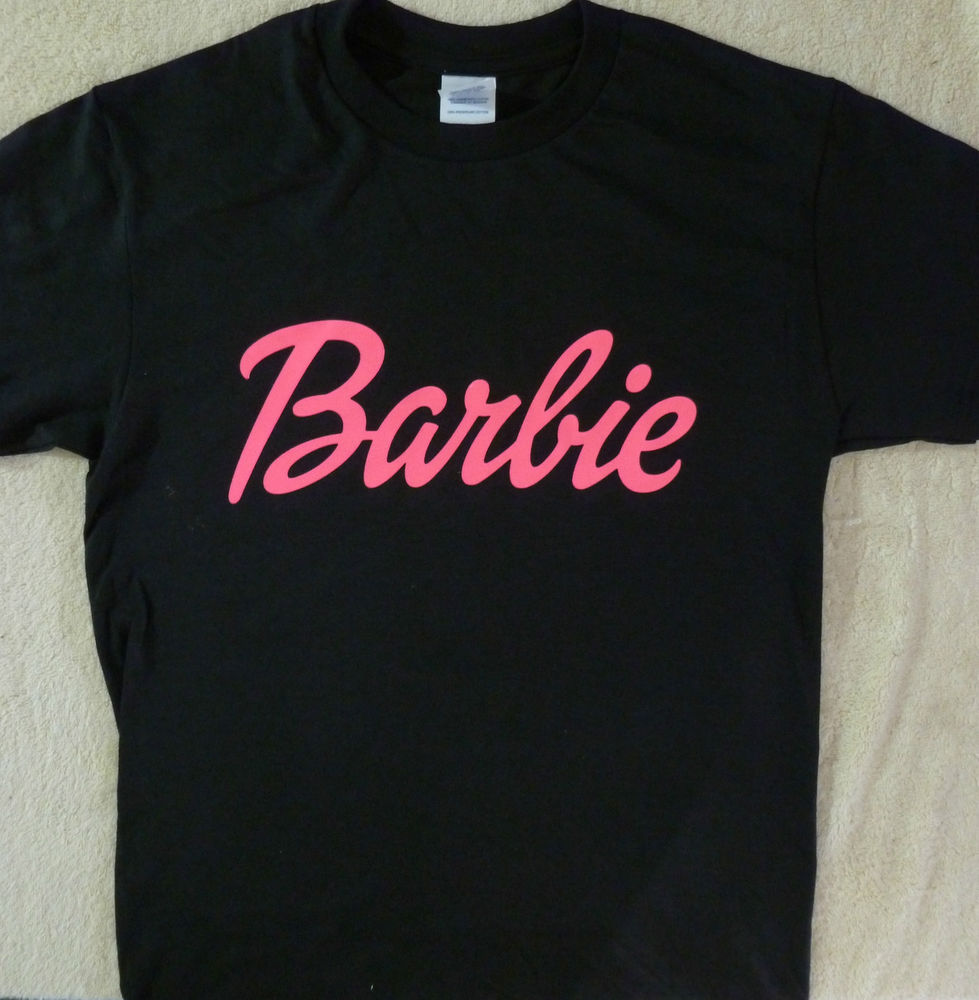 BARBIE~ LOGO HOT PINK ON A BLACK GIRL T SHIRT S 6-8 M 10-
