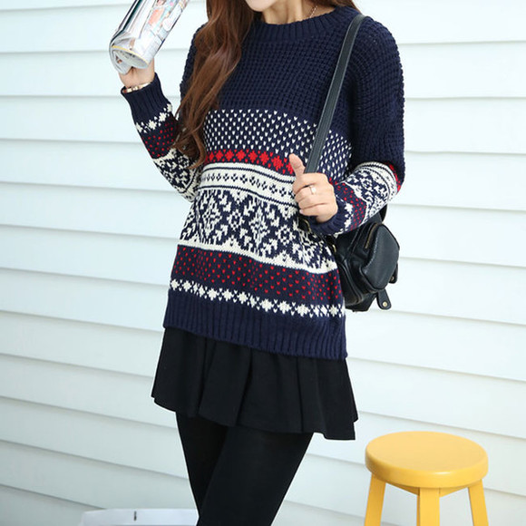 folk sweater knit leisure