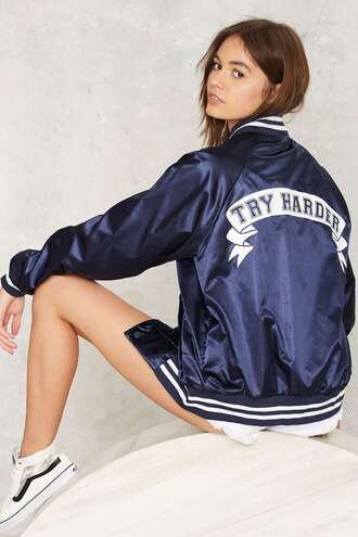 jacket bomber jacket satin blue navy