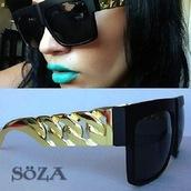 sunglasses,gold,lunette de soleil,gold chain,celebrity style,fashion