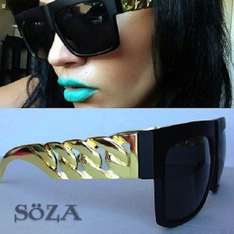 sunglasses gold lunette de soleil gold chain celebrity style fashion