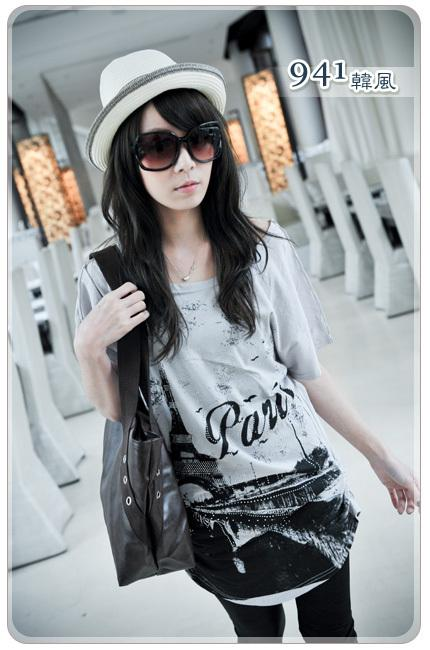 Eiffel tower type round neck long indian cotton t