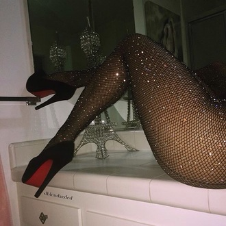 tights glitter black crystal hot sexy