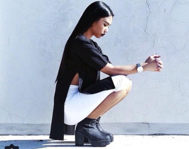 blouse shirt black white skirt boots t-shirt dress shoes