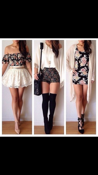 shorts flowered shorts spandex