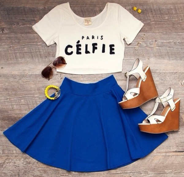 tank top celfie selfie belly shirt belly tip belly top crop tops paris blue skirt skirt high waisted high waisted skirt high heels earrings outfit summer outfits pretty outfit summer summer outfits but first let me take a selfie selfie top jewerly
