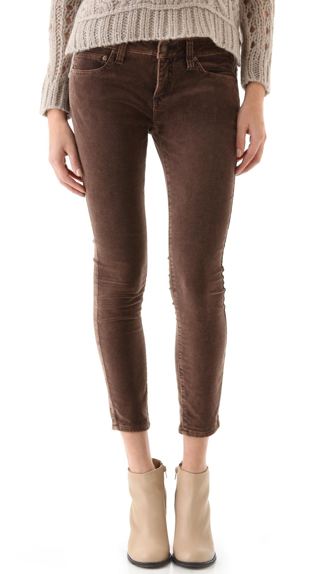 Free people brown velvet skinny pants