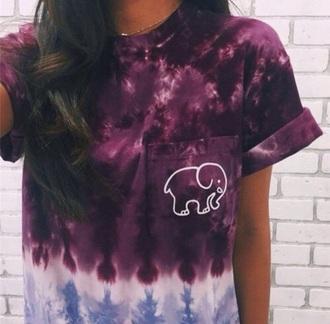 shirt purple black white blue t-shirt elephant tumblr fashion grunge grunge t-shirt