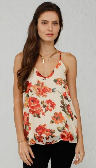 tank top angl vintage floral peach throwback snake gold cami top style girly