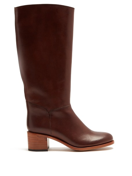 heel knee-high boots high leather dark brown shoes