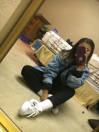 coat denim jacket denim adidas adidas shoes adidas superstars black pants black white black and white nike crewneck sweatshirt watch pants