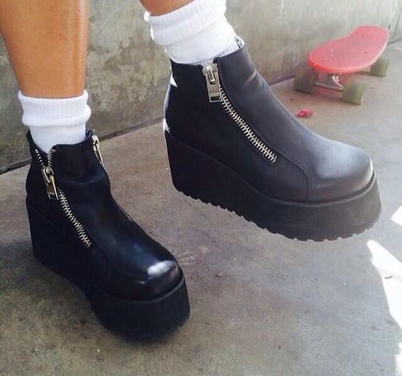 shoes platforms flatforms boots booties zipper booties grunge black flatforms vintage soft grunge