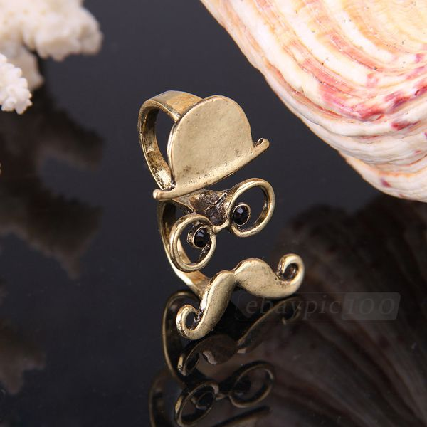Unisex metal cosplay hat glass mustache double finger ring chic fashion jewelry