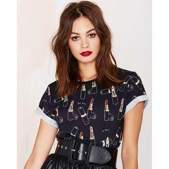 t-shirt yeah bunny lipstick print lipstick black cute red lipstick