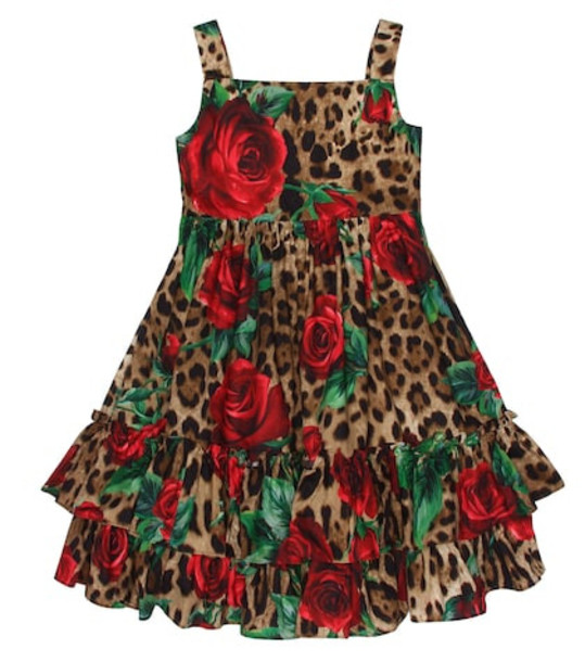 Dolce & Gabbana Kids Rose-printed cotton dress