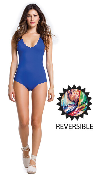 swimwear agua bendita best seller blue one piece reversible multicolor scalloped bikiniluxe