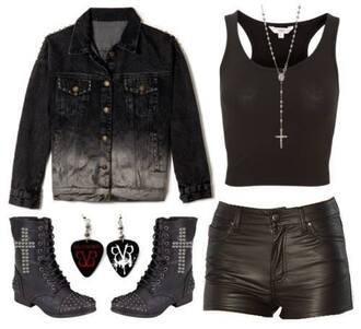 jacket dark punk grunge rock alternative pastel goth boots shorts shirt top cross black emo black veil brides tank top shoes