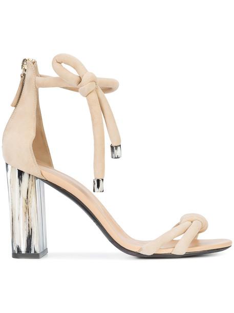 oscar de la renta women sandals leather suede brown shoes