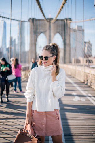 skirt mini skirt pastel pink handbag sunglasses blogger blogger style millenial turtle neck sweater hermes