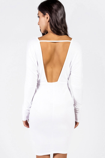 Bright white cut out backless deep v neck fitted long sleeve clubbing midi dress