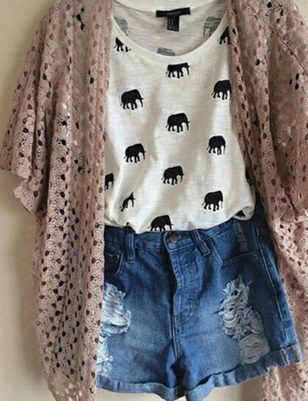 shorts sweater elephant top