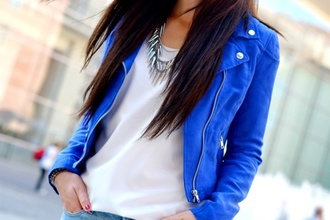 jacket blue leather zip royal blue blue jacket leather jacket girl clothes coat biker