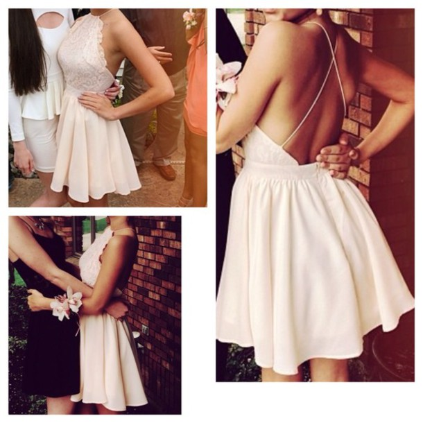 prom dress short Nude outfit dress