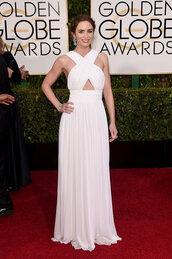 dress,emily blunt,michael kors,white dress,red carpet dress,white prom dress,Golden Globes 2015