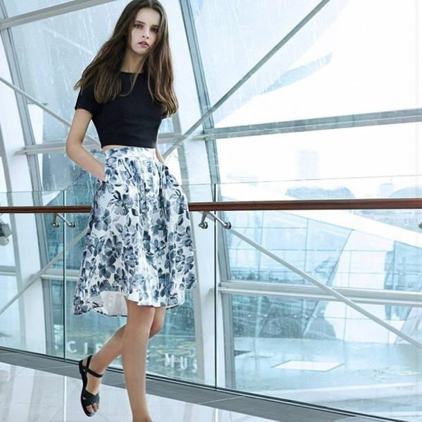 skirt model midi skirt floral floral skirt white floral midi skirt