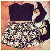 shoes,heels,black,bustier,floral,shorts,summer,maryjane pump,lace,lovely,blouse,high heels,tank top
