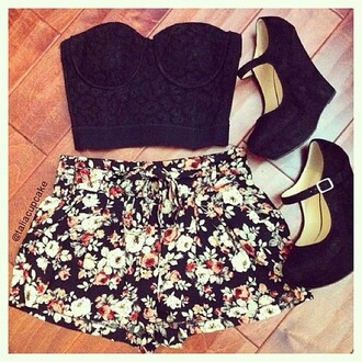shoes heels black bustier floral shorts summer maryjane pump lace lovely blouse high heels tank top
