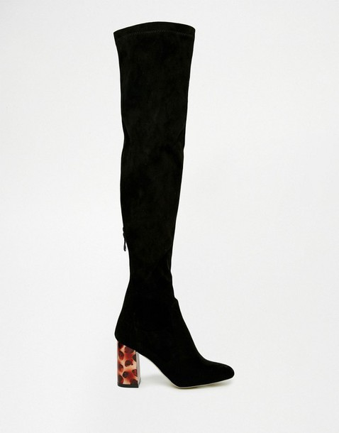 shoes over the knee boots black boots suede boots asos fall outfits