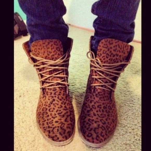cheetah shoes boots suede combat laceup brown