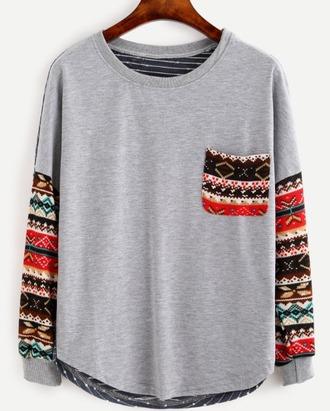blouse grey tribal pattern girl girly girly wishlist long sleeves print