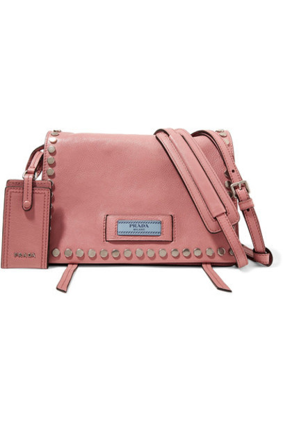 studded bag shoulder bag leather pink