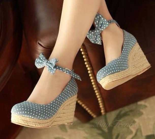 Shoes: wedges, wedge heel, high heels, bows - Wheretoget