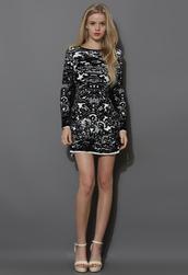 dress,black,jacquard,shift