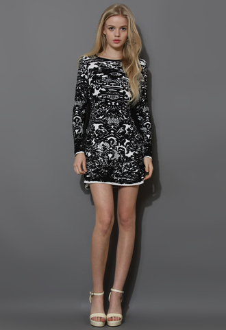 dress black jacquard shift