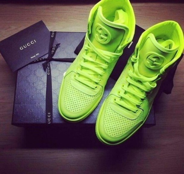 8d797265e shoes, gucci, yellow, neon, sneakers, luxury, celebrity - Wheretoget