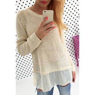 sweater glitter white fashion warm cozy sequins long sleeves knitwear silver fall outfits clothes winter outfits cute fine knit jumper