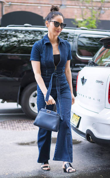 jumpsuit denim jeans olivia munn streetstyle mules spring outfits celebrity