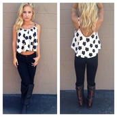 blouse,floral tank top,white,black flowers,blonde hair,pretty,floral,boots,jeans,dark blue jeans,black boots,shoes,black and white flower shirt