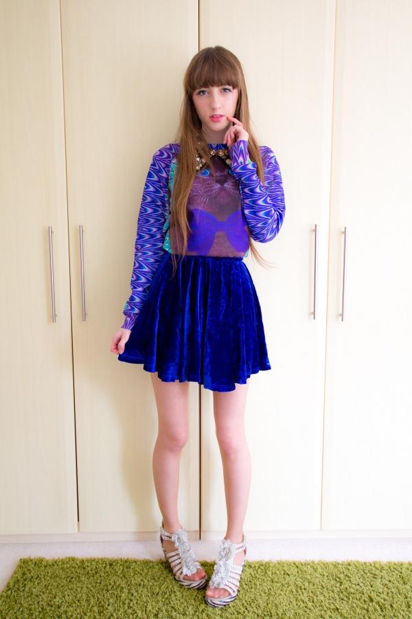 Pleated High Waist Pleuche Velvet Skirt - OASAP.com