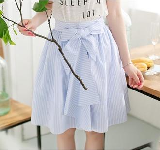 skirt cute blue white bow asian fashion style casual kawaii girly stripes feminine