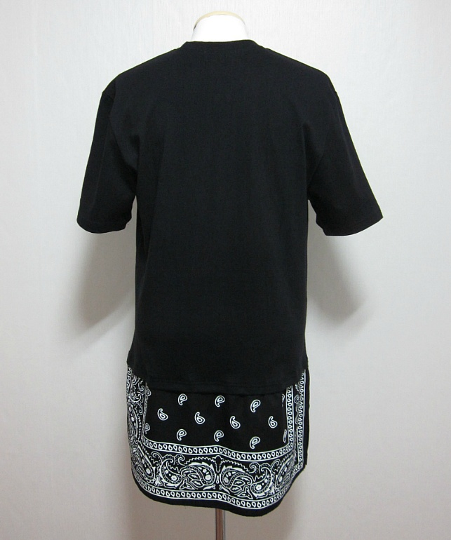 New Split Hem Extended Length Paisley Bandana Graphic T Shirt Black White | eBay