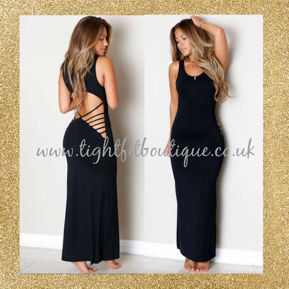 Black Long Open Back Bodycon Maxi Dress # by Tight Fit Boutique