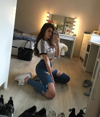jeans blue jeans adidas ripped jeans newlook