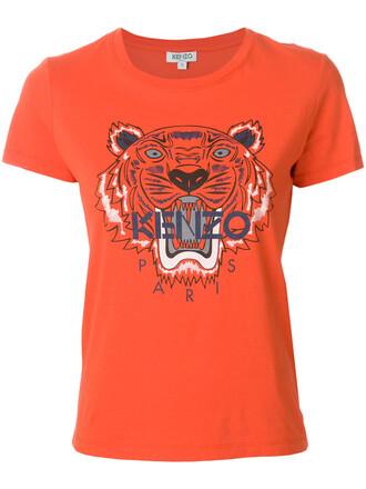 t-shirt shirt women tiger cotton yellow orange top